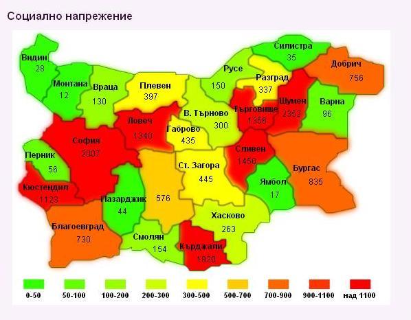 Карта на социалното напрежение в България