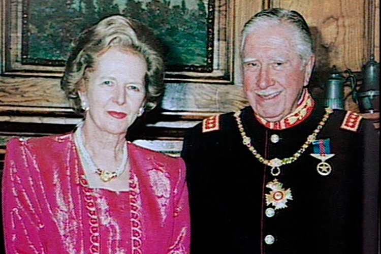 FILE FOOTAGE OF MARGARET THATCHER AND AUGUSTO PINOCHET.