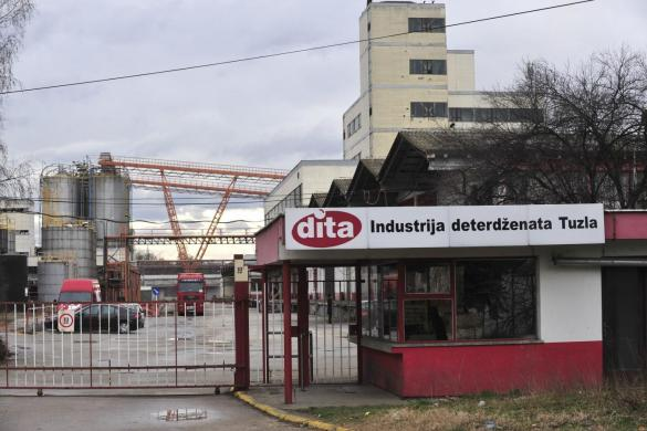 A closed Dita factory is seen in Tuzla